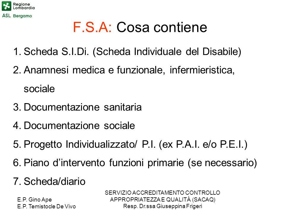 E.P. Gino Ape E.P. Temistocle De Vivo SERVIZIO ACCREDITAMENTO CONTROLLO APPROPRIATEZZA E QUALITÀ (SACAQ) Resp. Dr.ssa Giuseppina Frigeri F.S.A: Cosa c