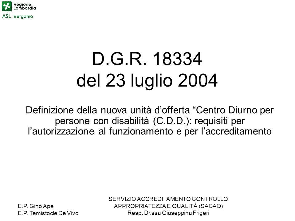 E.P. Gino Ape E.P. Temistocle De Vivo SERVIZIO ACCREDITAMENTO CONTROLLO APPROPRIATEZZA E QUALITÀ (SACAQ) Resp. Dr.ssa Giuseppina Frigeri D.G.R. 18334