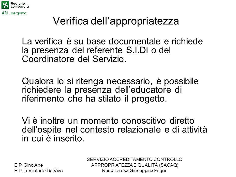 E.P. Gino Ape E.P. Temistocle De Vivo SERVIZIO ACCREDITAMENTO CONTROLLO APPROPRIATEZZA E QUALITÀ (SACAQ) Resp. Dr.ssa Giuseppina Frigeri Verifica dell