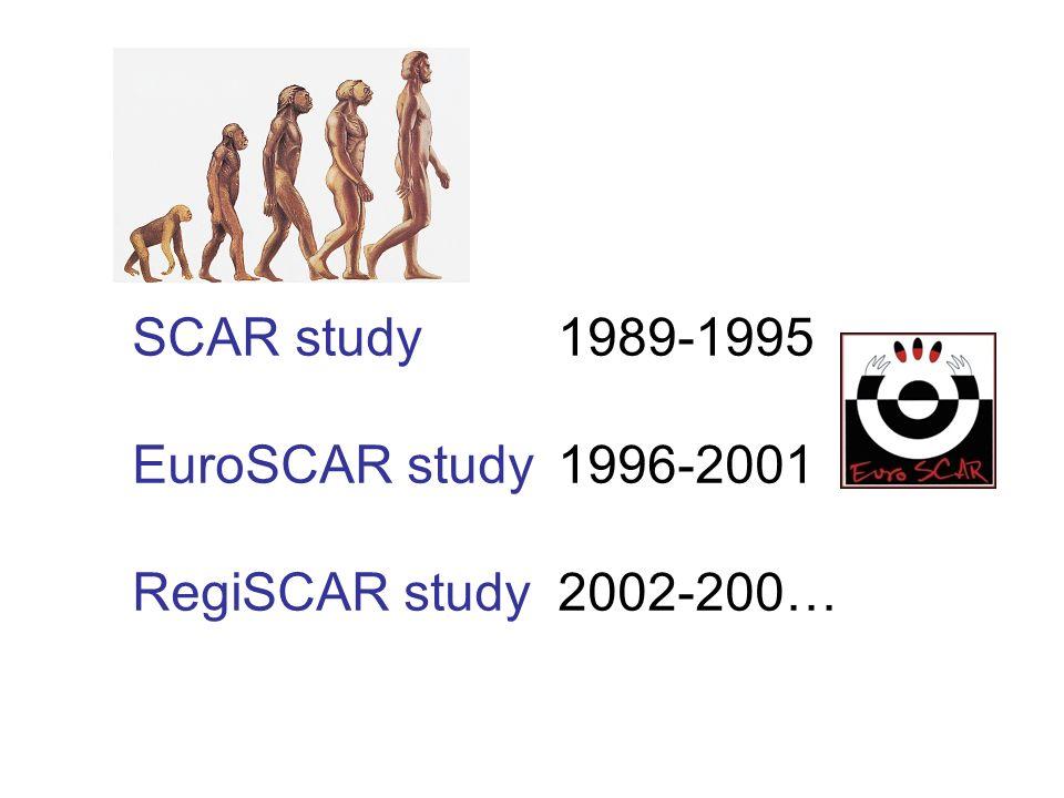 SCAR study1989-1995 EuroSCAR study1996-2001 RegiSCAR study 2002-200…