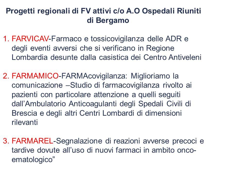 Progetti regionali di FV attivi c/o A.O Ospedali Riuniti di Bergamo 1.FARVICAV-Farmaco e tossicovigilanza delle ADR e degli eventi avversi che si veri