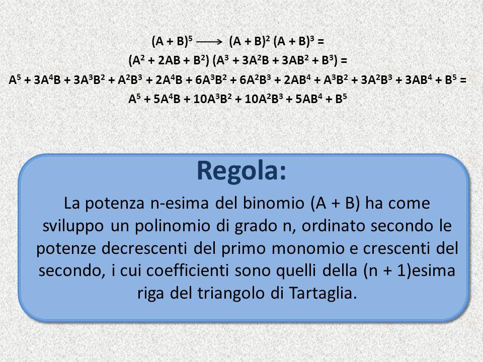 Regola: (A + B) 5 (A + B) 2 (A + B) 3 = (A 2 + 2AB + B 2 ) (A 3 + 3A 2 B + 3AB 2 + B 3 ) = A 5 + 3A 4 B + 3A 3 B 2 + A 2 B 3 + 2A 4 B + 6A 3 B 2 + 6A