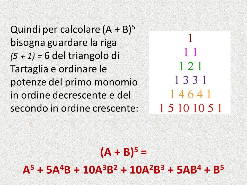 (A + B) 5 = A 5 + 5A 4 B + 10A 3 B 2 + 10A 2 B 3 + 5AB 4 + B 5 Quindi per calcolare (A + B) 5 bisogna guardare la riga (5 + 1) = 6 del triangolo di Ta