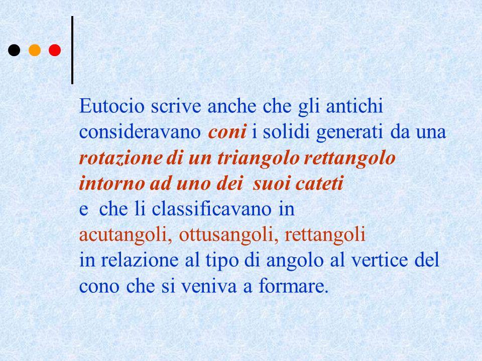 Eutocio scrive anche che gli antichi consideravano coni i solidi generati da una rotazione di un triangolo rettangolo intorno ad uno dei suoi cateti e