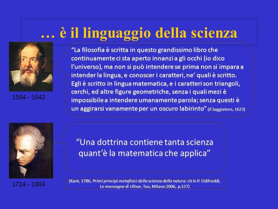 … è il linguaggio della scienza Una dottrina contiene tanta scienza quantè la matematica che applica (Kant, 1786, Primi principi metafisici della scienza della natura.