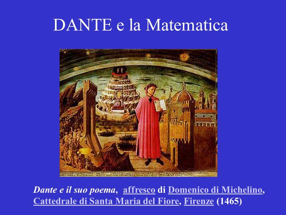 DANTE e la Matematica Dante e il suo poema, affresco di Domenico di Michelino,affrescoDomenico di Michelino Cattedrale di Santa Maria del FioreCattedrale di Santa Maria del Fiore, Firenze (1465)Firenze