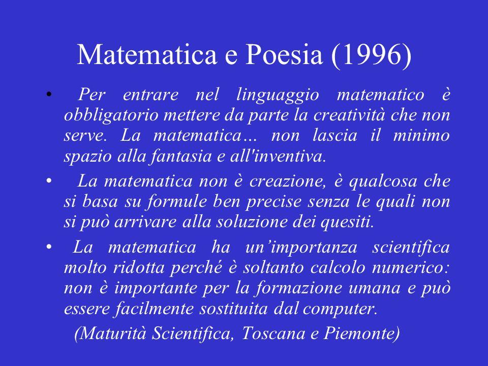Matematica e Poesia (1996) Per entrare nel linguaggio matematico è obbligatorio mettere da parte la creatività che non serve.