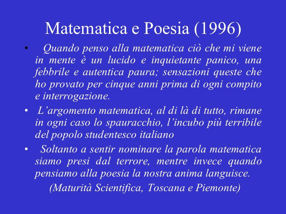 Matematica e Poesia (1996) Quando penso alla matematica ciò che mi viene in mente è un lucido e inquietante panico, una febbrile e autentica paura; sensazioni queste che ho provato per cinque anni prima di ogni compito e interrogazione.