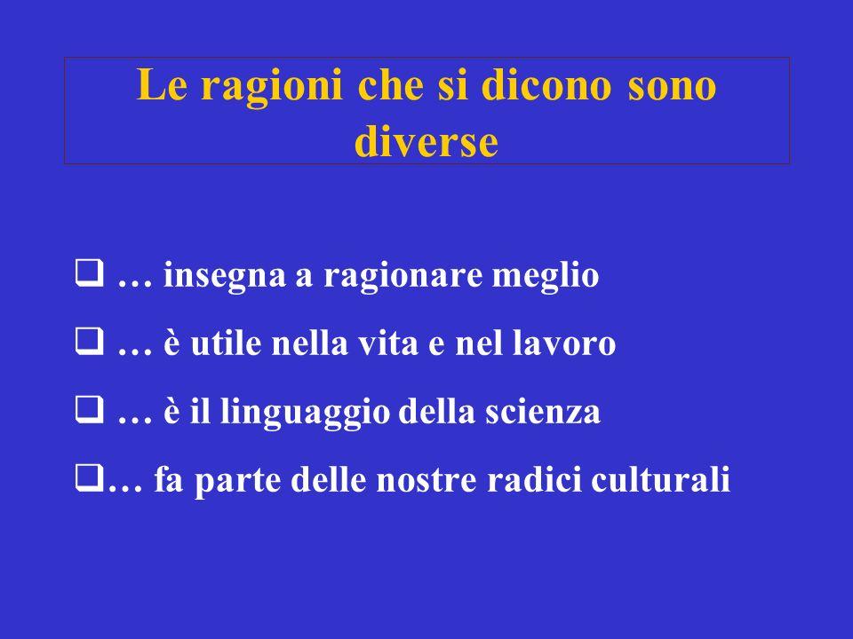 Le ragioni che si dicono sono diverse … insegna a ragionare meglio … è utile nella vita e nel lavoro … è il linguaggio della scienza … fa parte delle nostre radici culturali