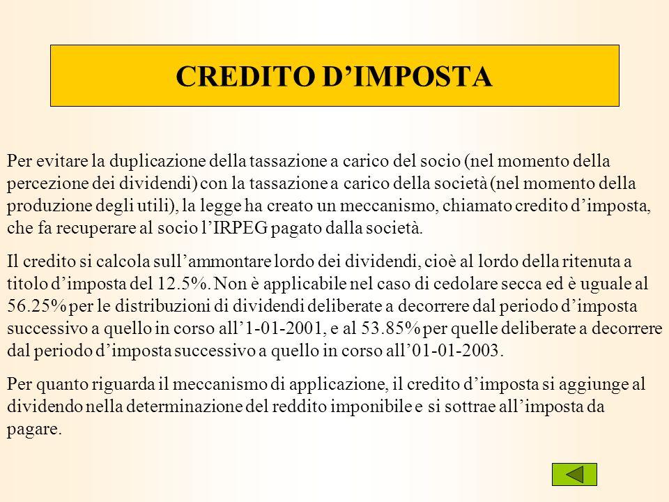 CREDITO DIMPOSTA Per evitare la duplicazione della tassazione a carico del socio (nel momento della percezione dei dividendi) con la tassazione a cari