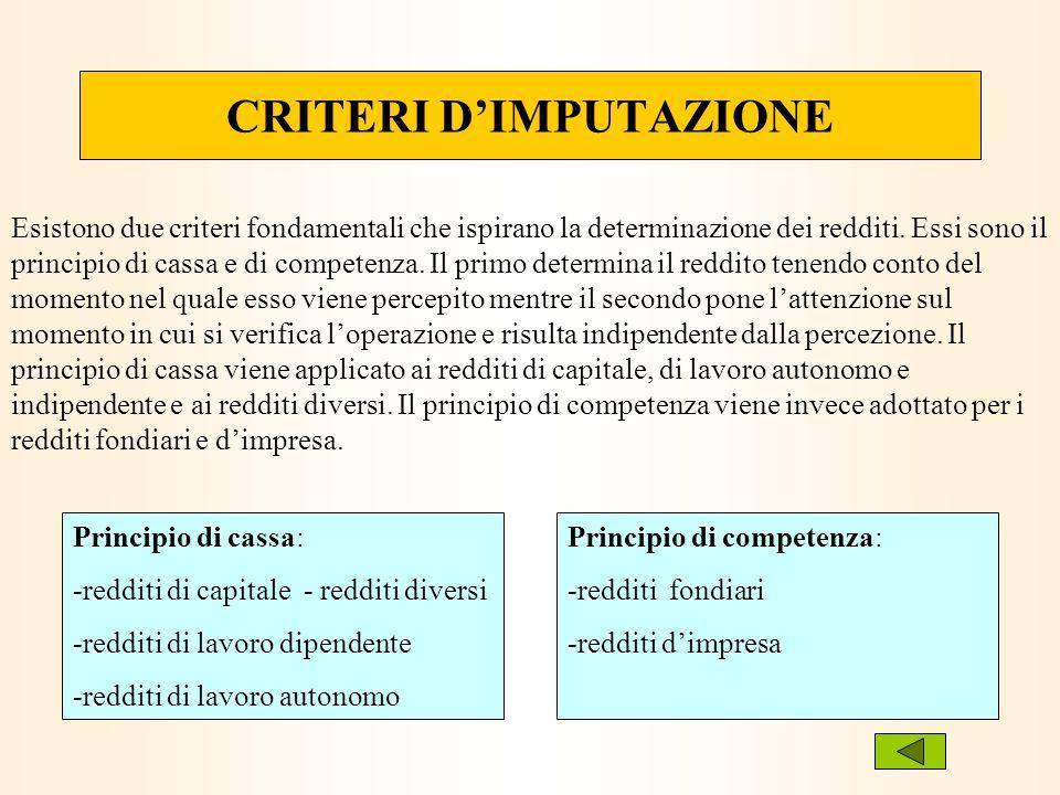 CRITERI DIMPUTAZIONE Esistono due criteri fondamentali che ispirano la determinazione dei redditi. Essi sono il principio di cassa e di competenza. Il
