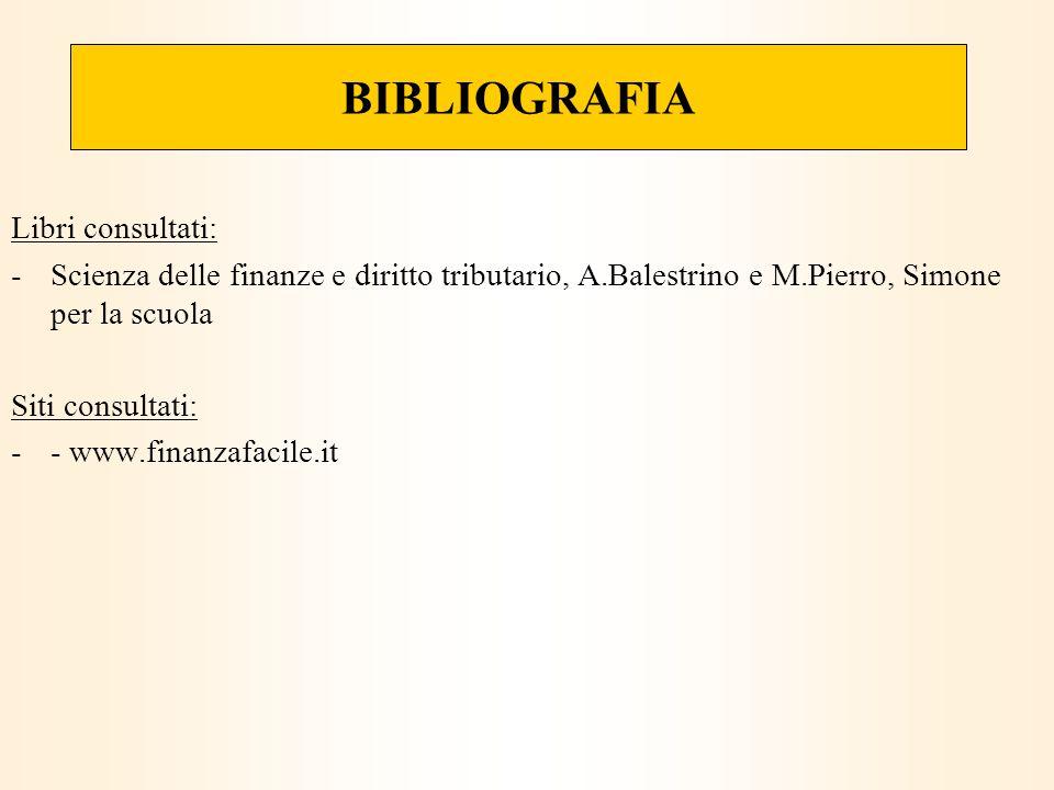 BIBLIOGRAFIA Libri consultati: -Scienza delle finanze e diritto tributario, A.Balestrino e M.Pierro, Simone per la scuola Siti consultati: -- www.finanzafacile.it