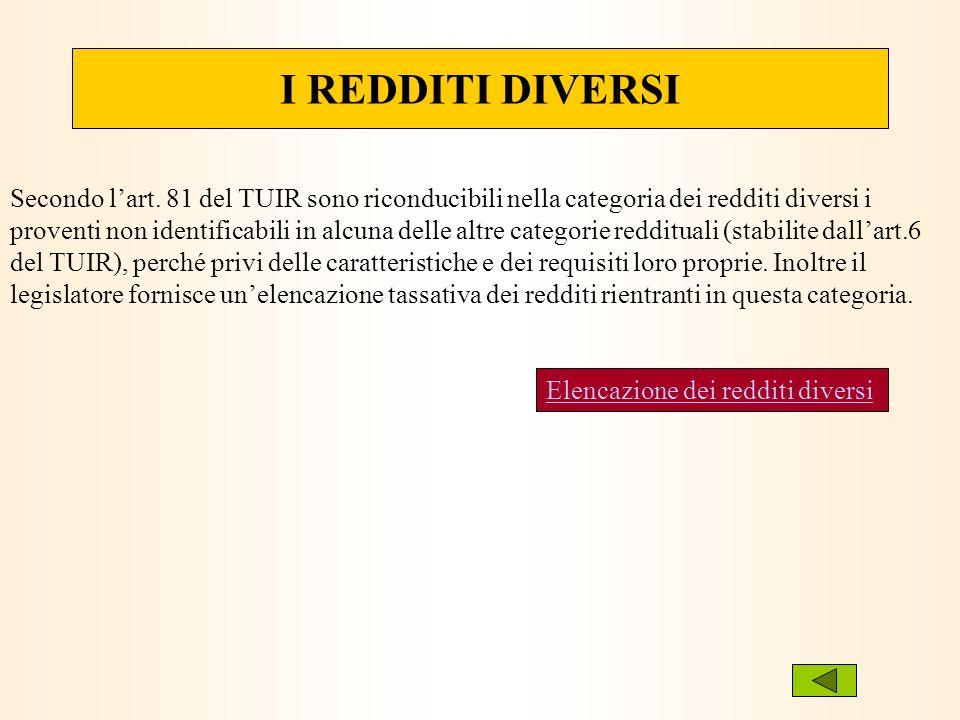 I REDDITI DIVERSI Secondo lart. 81 del TUIR sono riconducibili nella categoria dei redditi diversi i proventi non identificabili in alcuna delle altre