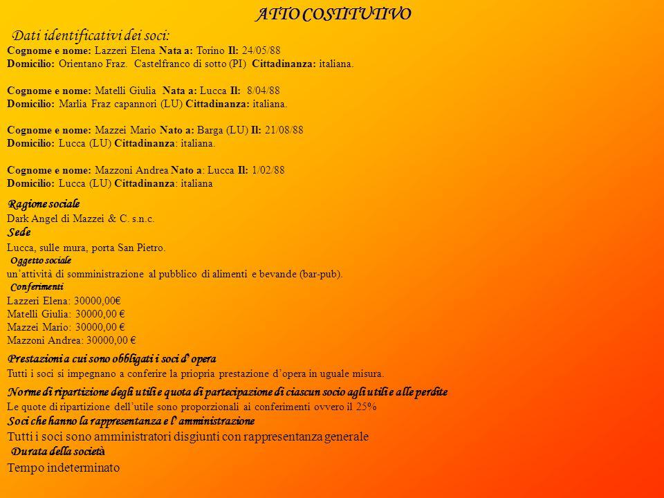ATTO COSTITUTIVO Dati identificativi dei soci: Cognome e nome: Lazzeri Elena Nata a: Torino Il: 24/05/88 Domicilio: Orientano Fraz.