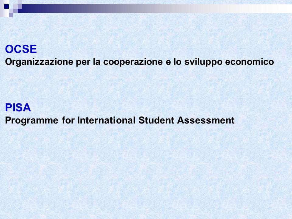 OCSE Organizzazione per la cooperazione e lo sviluppo economico PISA Programme for International Student Assessment