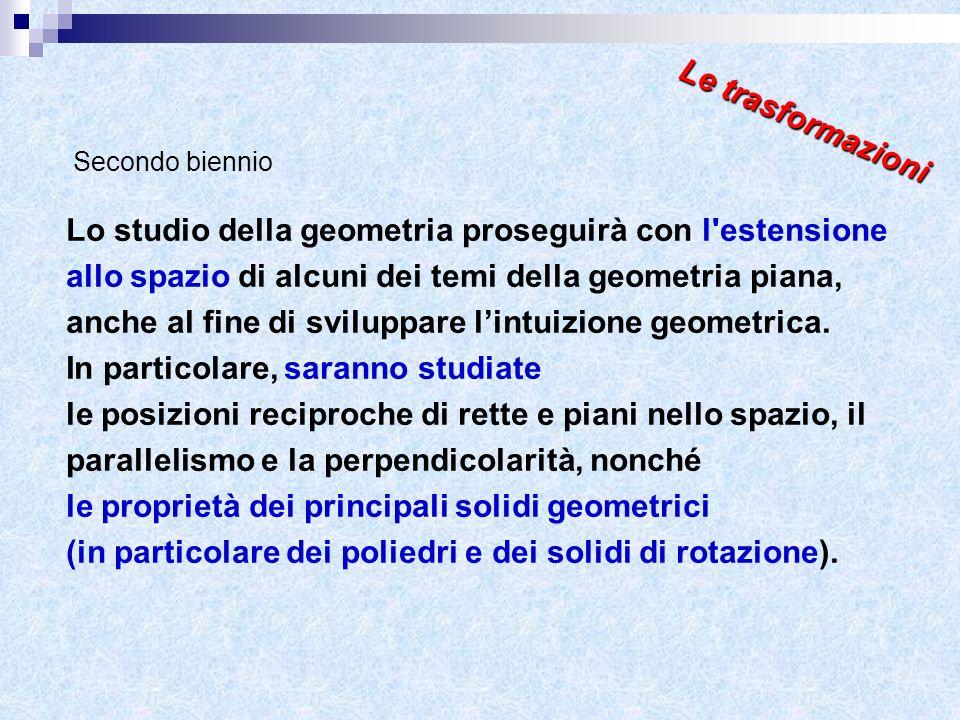 Lo studio della geometria proseguirà con l'estensione allo spazio di alcuni dei temi della geometria piana, anche al fine di sviluppare lintuizione ge