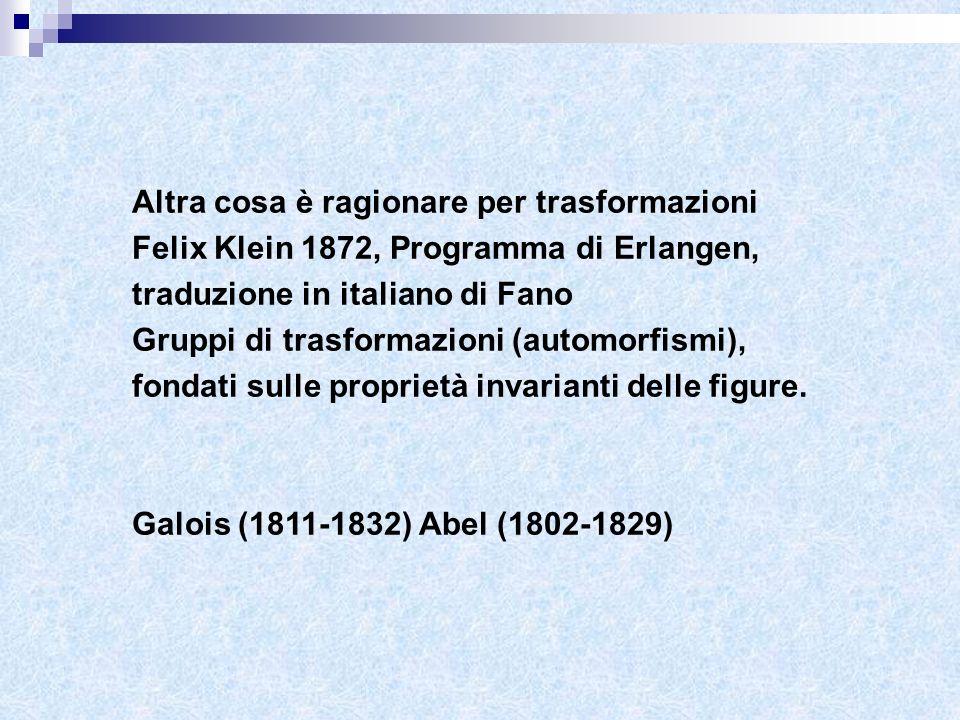 Altra cosa è ragionare per trasformazioni Felix Klein 1872, Programma di Erlangen, traduzione in italiano di Fano Gruppi di trasformazioni (automorfis