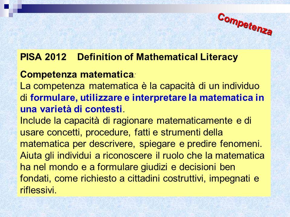 PISA 2012 Definition of Mathematical Literacy Competenza matematica : La competenza matematica è la capacità di un individuo di formulare, utilizzare
