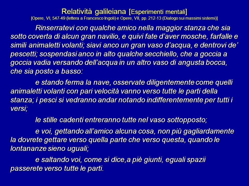 Relatività galileiana [ Esperimenti mentali ] [Opere, VI, 547-49 (lettera a Francesco Ingoli) e Opere, VII, pp. 212-13 (Dialogo sui massimi sistemi)]