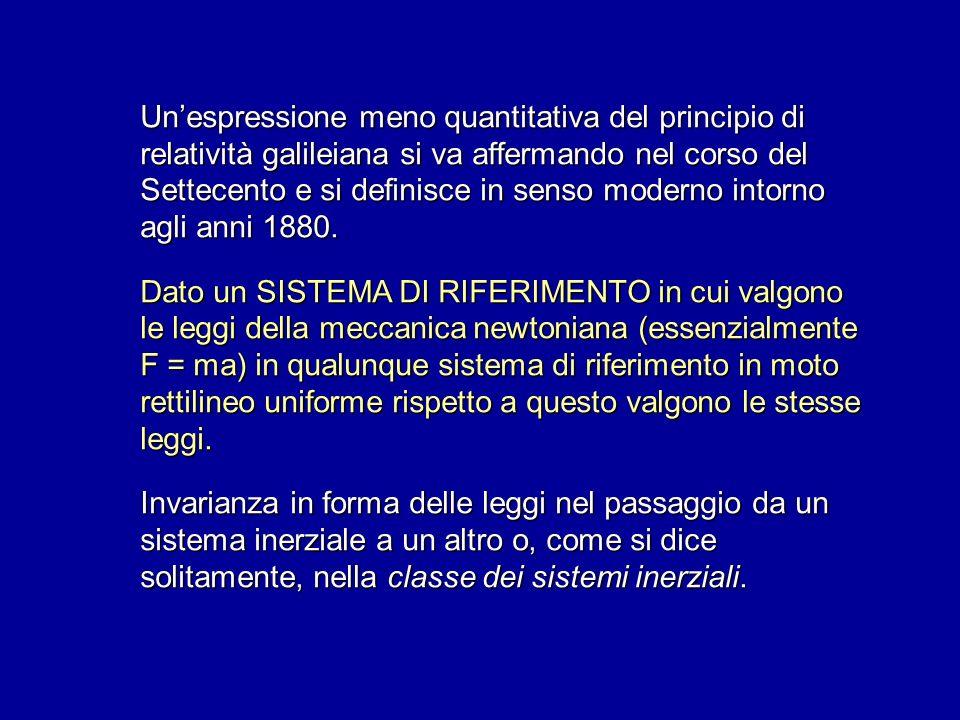 Unespressione meno quantitativa del principio di relatività galileiana si va affermando nel corso del Settecento e si definisce in senso moderno intor