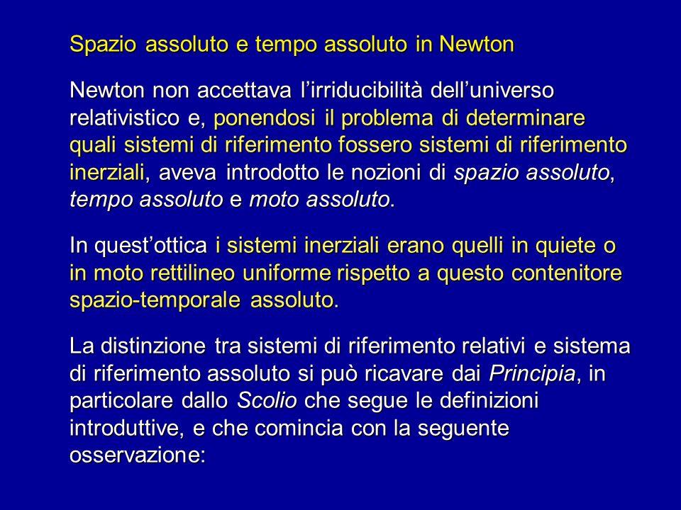 Spazio assoluto e tempo assoluto in Newton Newton non accettava lirriducibilità delluniverso relativistico e, ponendosi il problema di determinare qua