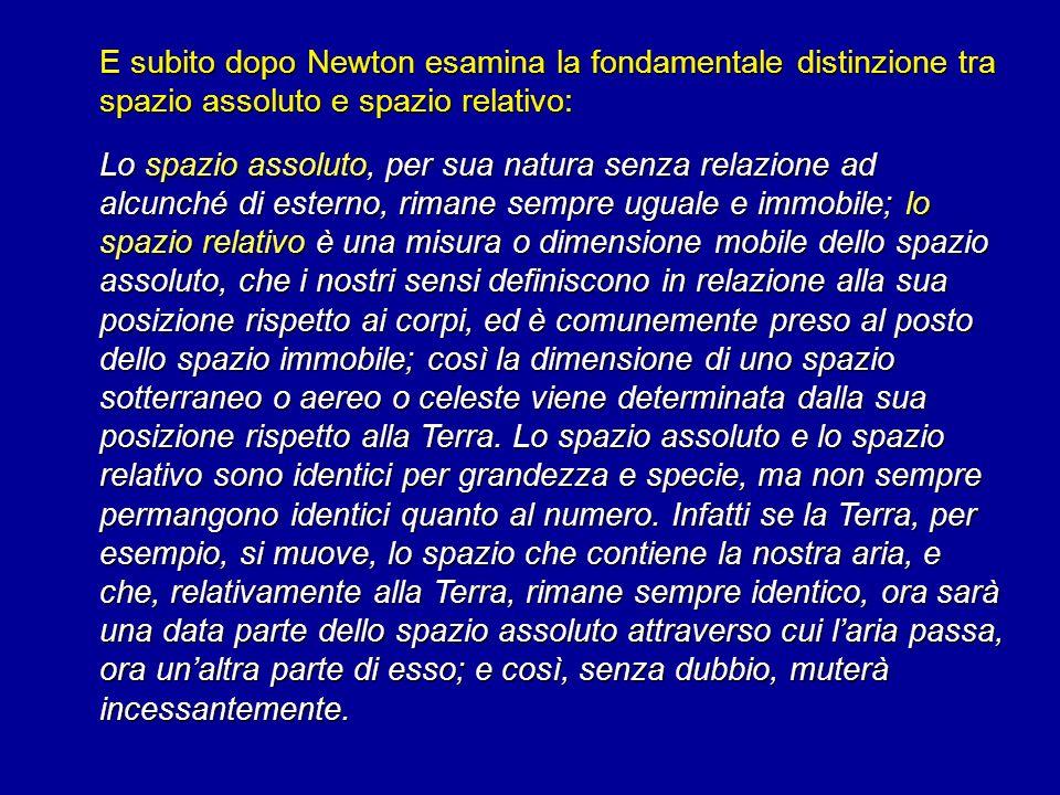 E subito dopo Newton esamina la fondamentale distinzione tra spazio assoluto e spazio relativo: Lo spazio assoluto, per sua natura senza relazione ad