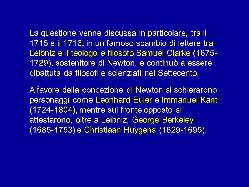 La questione venne discussa in particolare, tra il 1715 e il 1716, in un famoso scambio di lettere tra Leibniz e il teologo e filosofo Samuel Clarke (