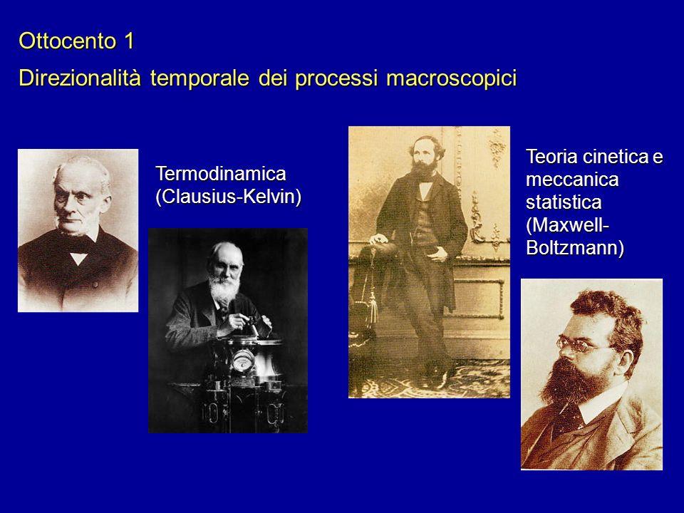 Ottocento 1 Direzionalità temporale dei processi macroscopici Termodinamica (Clausius-Kelvin) Teoria cinetica e meccanica statistica (Maxwell- Boltzma