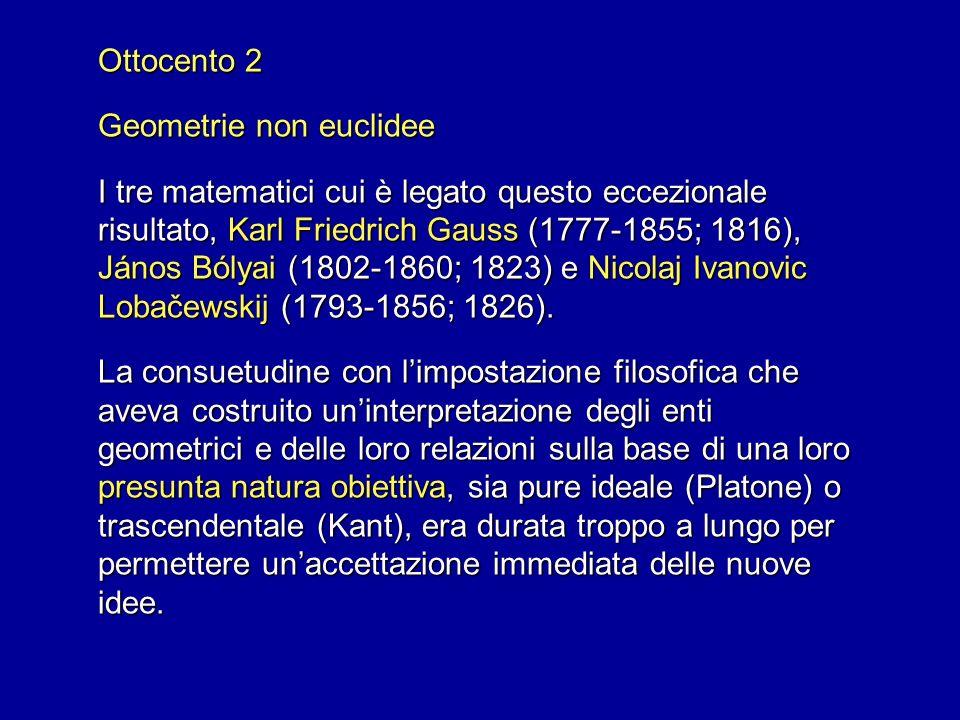 Ottocento 2 Geometrie non euclidee I tre matematici cui è legato questo eccezionale risultato, Karl Friedrich Gauss (1777-1855; 1816), János Bólyai (1