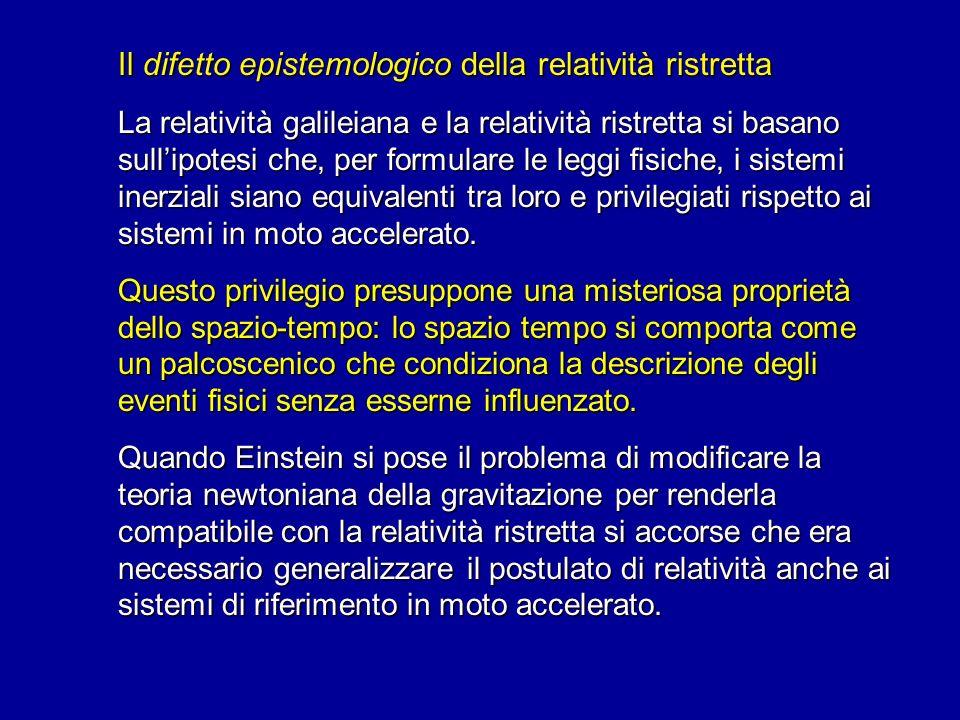 Il difetto epistemologico della relatività ristretta La relatività galileiana e la relatività ristretta si basano sullipotesi che, per formulare le le