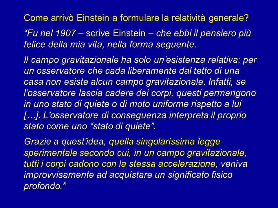 Come arrivò Einstein a formulare la relatività generale? Fu nel 1907 – scrive Einstein – che ebbi il pensiero più felice della mia vita, nella forma s