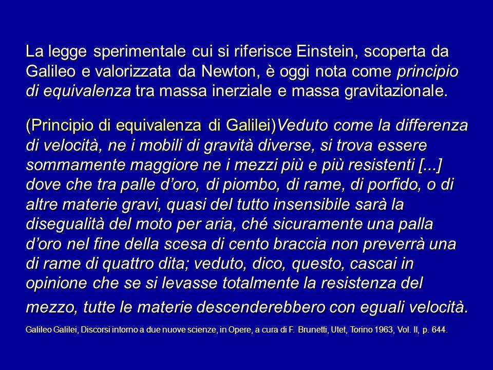 La legge sperimentale cui si riferisce Einstein, scoperta da Galileo e valorizzata da Newton, è oggi nota come principio di equivalenza tra massa iner