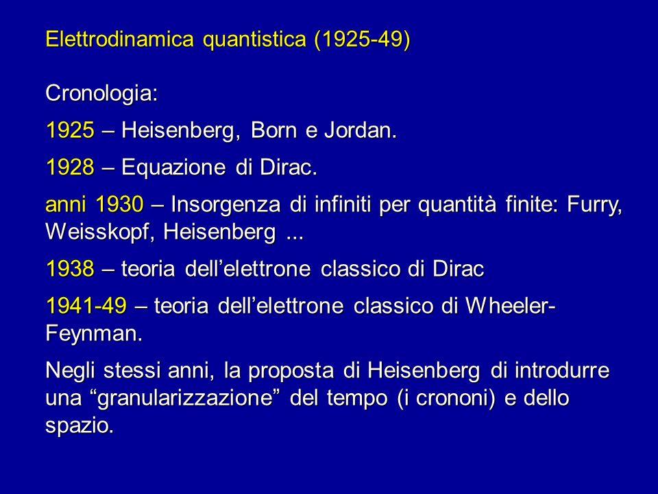 Elettrodinamica quantistica (1925-49) Cronologia: 1925 – Heisenberg, Born e Jordan. 1928 – Equazione di Dirac. anni 1930 – Insorgenza di infiniti per