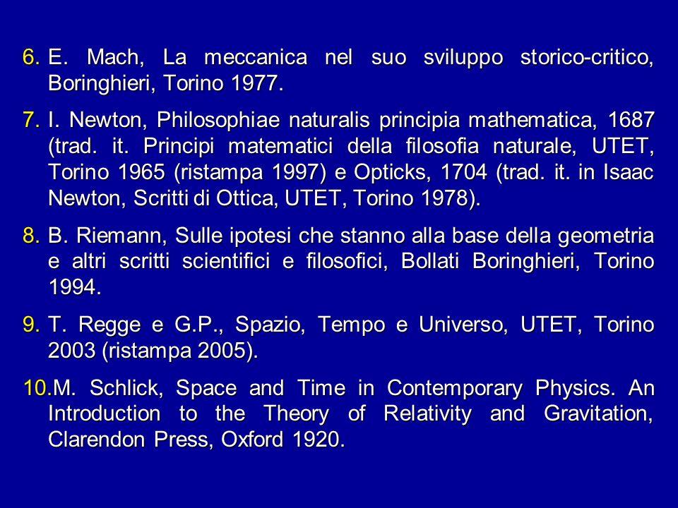 6.E. Mach, La meccanica nel suo sviluppo storico-critico, Boringhieri, Torino 1977. 7.I. Newton, Philosophiae naturalis principia mathematica, 1687 (t