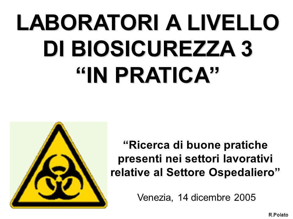 LABORATORI A LIVELLO DI BIOSICUREZZA 3 IN PRATICA Venezia, 14 dicembre 2005 R.Polato Ricerca di buone pratiche presenti nei settori lavorativi relativ