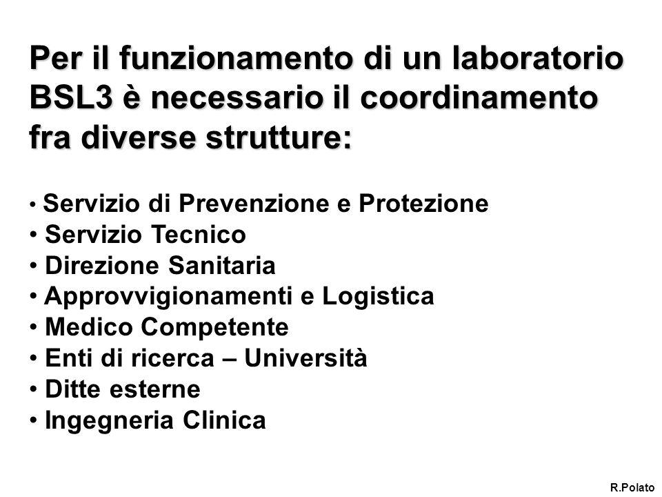 Per il funzionamento di un laboratorio BSL3 è necessario il coordinamento fra diverse strutture: Servizio di Prevenzione e Protezione Servizio Tecnico