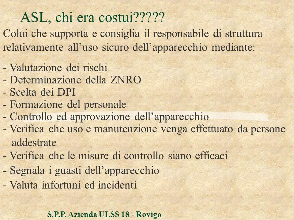 S.P.P. Azienda ULSS 18 - Rovigo ASL, chi era costui????? - Valutazione dei rischi - Determinazione della ZNRO - Scelta dei DPI - Formazione del person