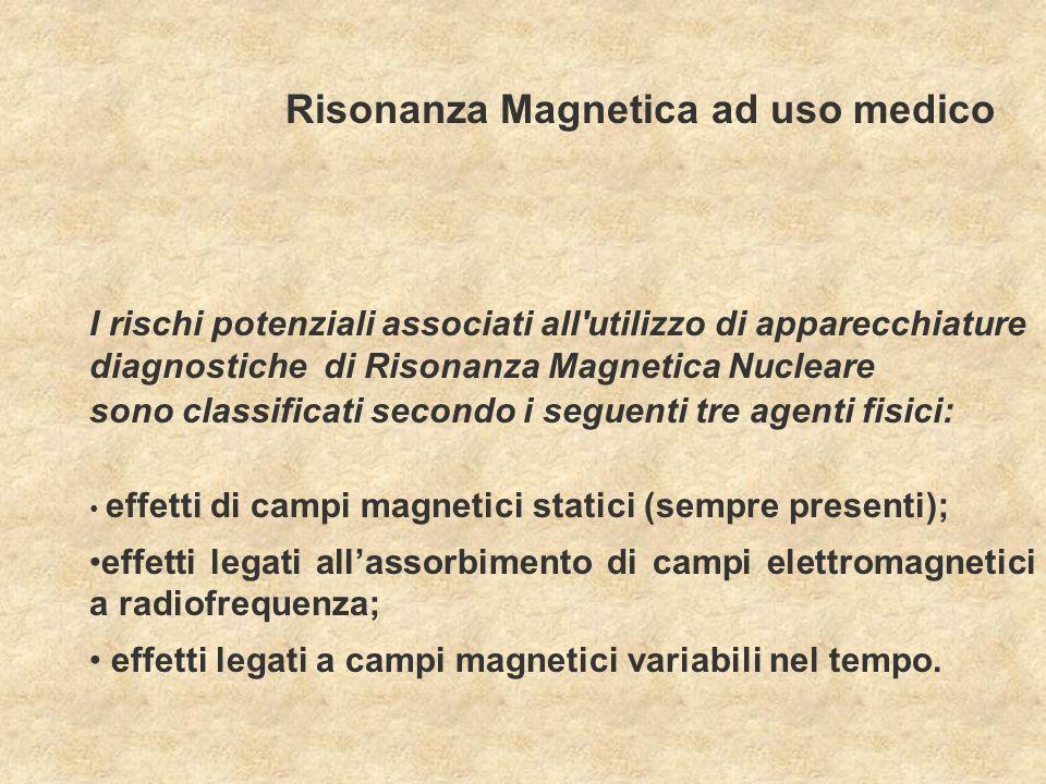 I rischi potenziali associati all'utilizzo di apparecchiature diagnostiche di Risonanza Magnetica Nucleare sono classificati secondo i seguenti tre ag