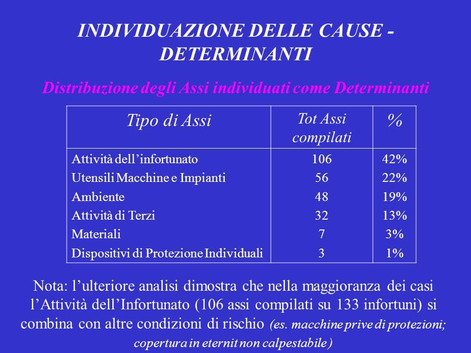 INDIVIDUAZIONE DELLE CAUSE - DETERMINANTI Distribuzione degli Assi individuati come Determinanti Tipo di Assi Tot Assi compilati % Attività dellinfortunato Utensili Macchine e Impianti Ambiente Attività di Terzi Materiali Dispositivi di Protezione Individuali 106 56 48 32 7 3 42% 22% 19% 13% 3% 1% Nota: lulteriore analisi dimostra che nella maggioranza dei casi lAttività dellInfortunato (106 assi compilati su 133 infortuni) si combina con altre condizioni di rischio (es.