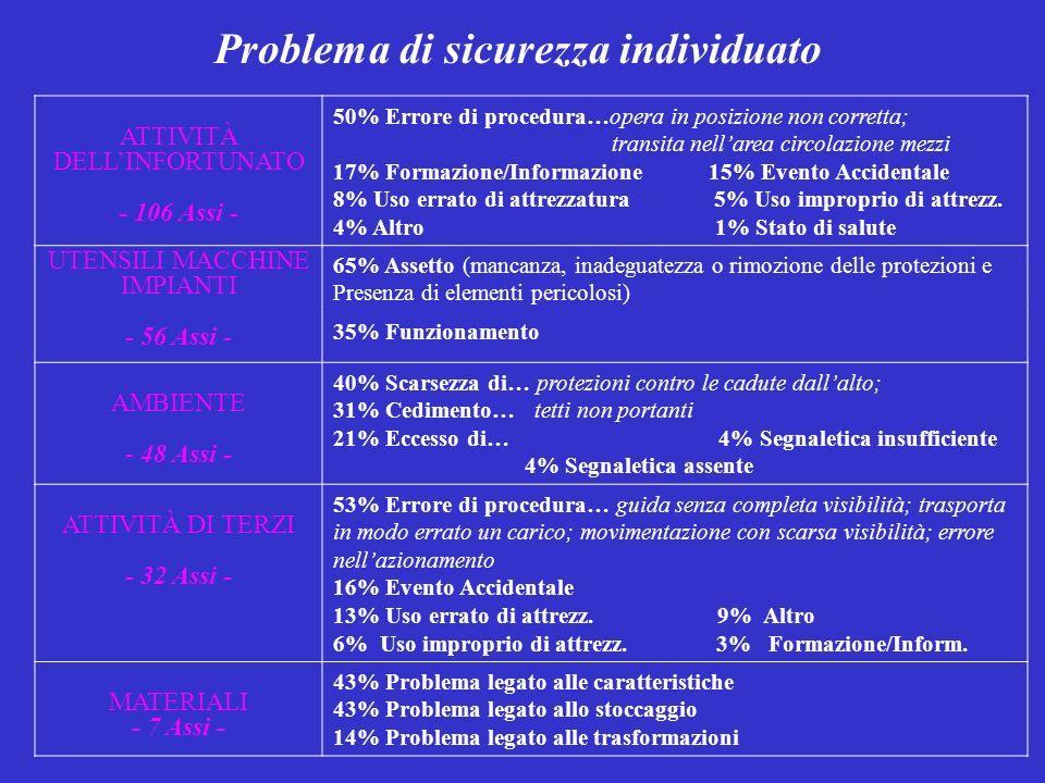 Problema di sicurezza individuato ATTIVITÀ DELLINFORTUNATO - 106 Assi - 50% Errore di procedura…opera in posizione non corretta; transita nellarea circolazione mezzi 17% Formazione/Informazione 15% Evento Accidentale 8% Uso errato di attrezzatura 5% Uso improprio di attrezz.