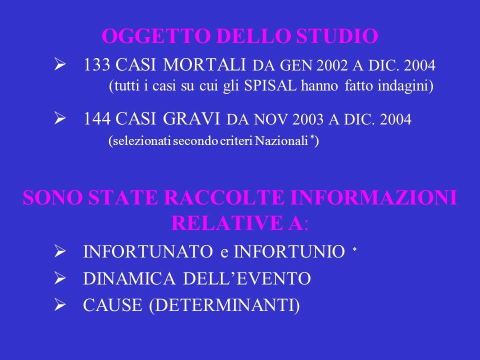 OGGETTO DELLO STUDIO 133 CASI MORTALI DA GEN 2002 A DIC.