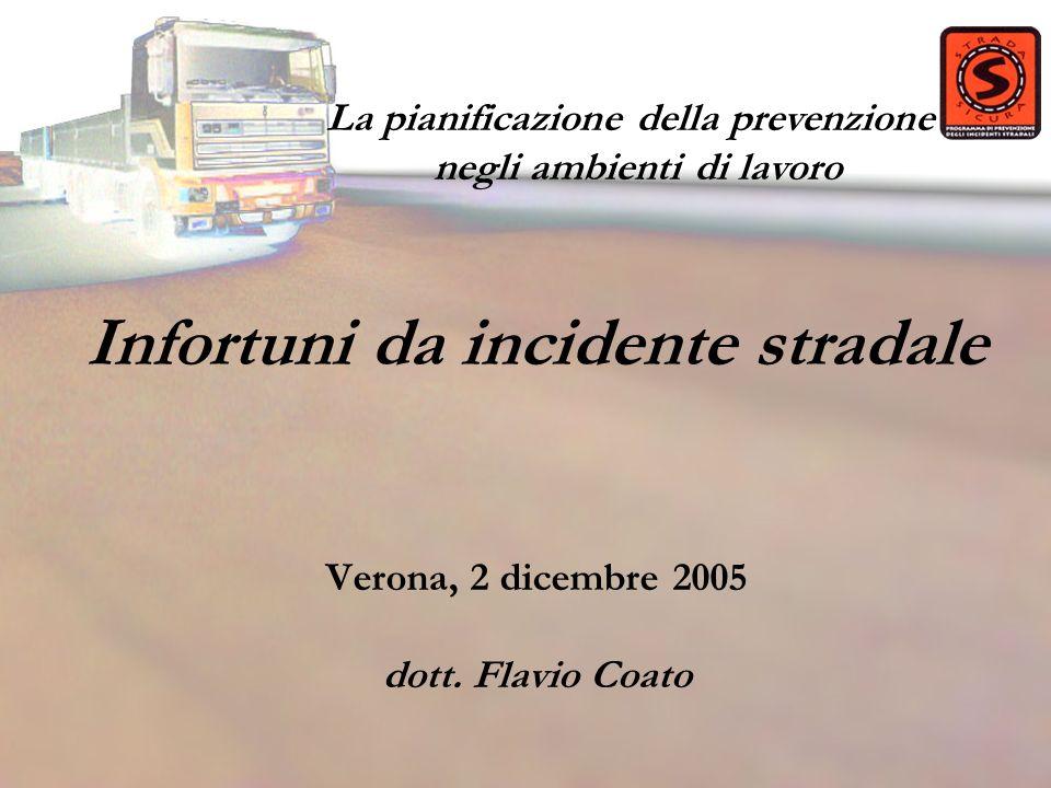 Infortuni da incidente stradale Verona, 2 dicembre 2005 dott. Flavio Coato La pianificazione della prevenzione negli ambienti di lavoro