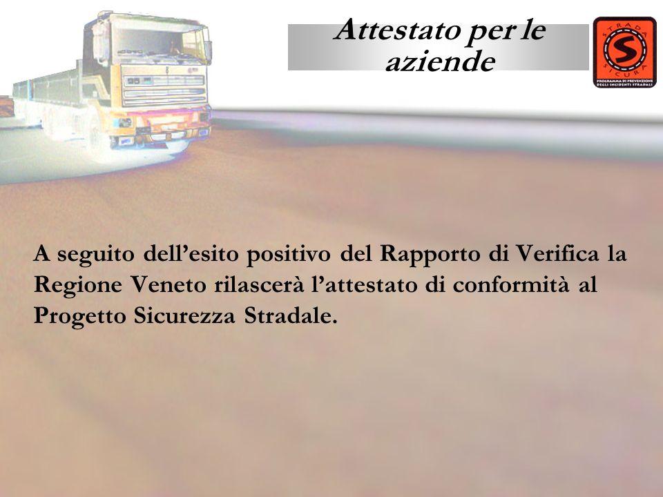 A seguito dellesito positivo del Rapporto di Verifica la Regione Veneto rilascerà lattestato di conformità al Progetto Sicurezza Stradale. Attestato p