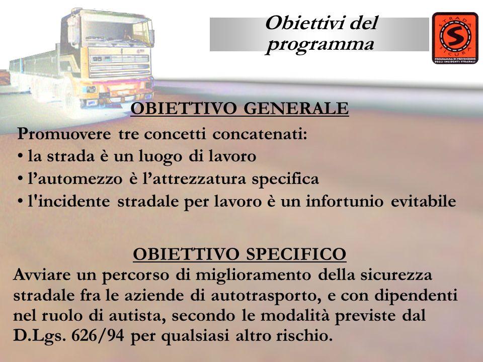 Obiettivi del programma OBIETTIVO SPECIFICO Avviare un percorso di miglioramento della sicurezza stradale fra le aziende di autotrasporto, e con dipen