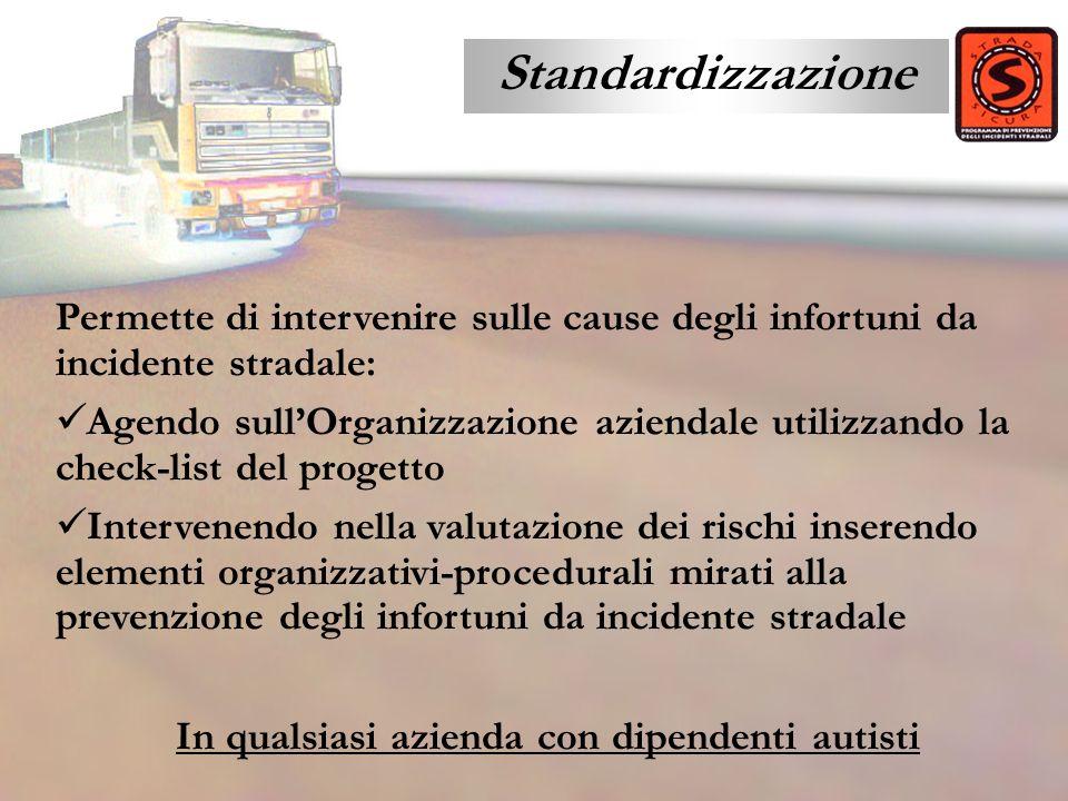 Standardizzazione Permette di intervenire sulle cause degli infortuni da incidente stradale: Agendo sullOrganizzazione aziendale utilizzando la check-