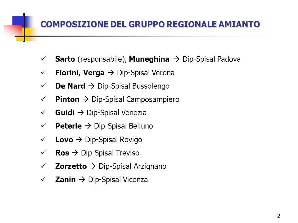 2 COMPOSIZIONE DEL GRUPPO REGIONALE AMIANTO Sarto (responsabile), Muneghina Dip-Spisal Padova Fiorini, Verga Dip-Spisal Verona De Nard Dip-Spisal Buss