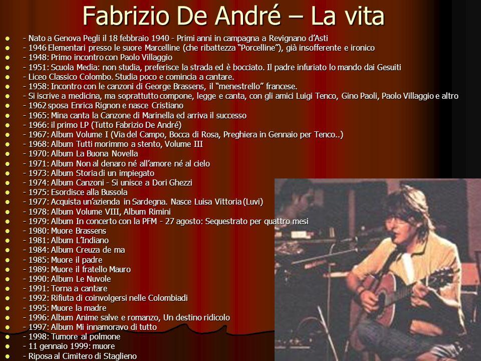 Fabrizio De André – La vita - Nato a Genova Pegli il 18 febbraio 1940 - Primi anni in campagna a Revignano dAsti - Nato a Genova Pegli il 18 febbraio