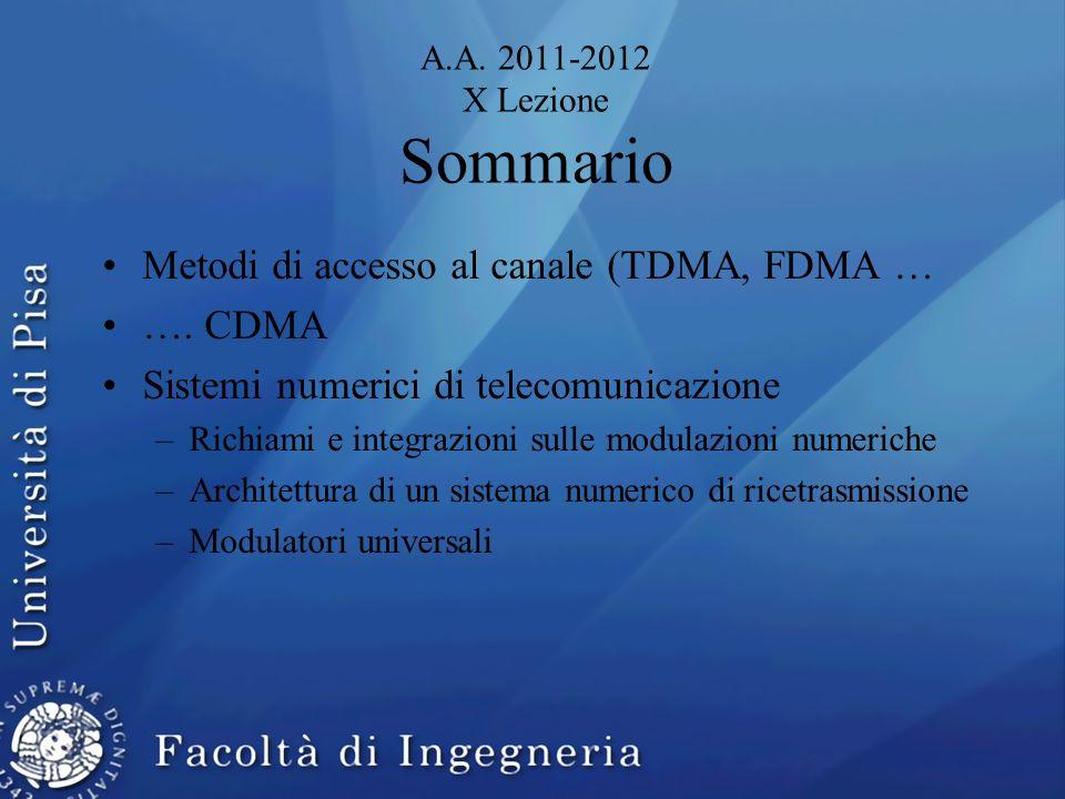 A.A. 2011-2012 X Lezione Sommario Metodi di accesso al canale (TDMA, FDMA … …. CDMA Sistemi numerici di telecomunicazione –Richiami e integrazioni sul