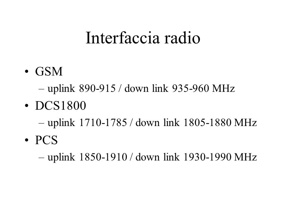 Interfaccia radio GSM –uplink 890-915 / down link 935-960 MHz DCS1800 –uplink 1710-1785 / down link 1805-1880 MHz PCS –uplink 1850-1910 / down link 1930-1990 MHz