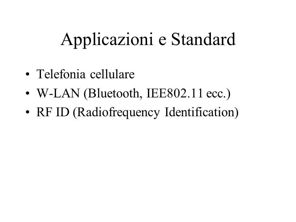 Applicazioni e Standard Telefonia cellulare W-LAN (Bluetooth, IEE802.11 ecc.) RF ID (Radiofrequency Identification)